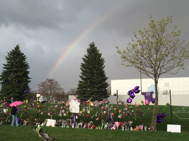 Rainbow over Paisley Park the day Prince died (from usmagazine.com)